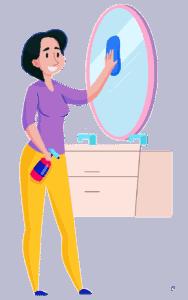 nainen siivoaa